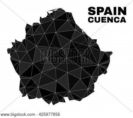 Lowpoly Cuenca Province Map. Polygonal Cuenca Province Map Vector Combined From Chaotic Triangles. T