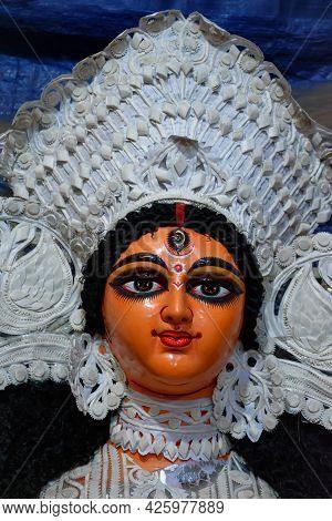 Close Up Shot Of Goddess Devi Durga, Before Upcoming Durga Puja At A Potter's Studio In Kolkata.