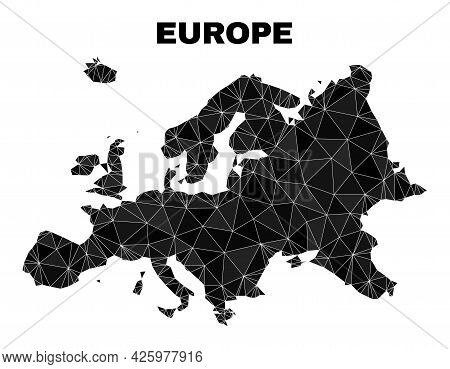 Low-poly Europe Map. Polygonal Europe Map Vector Filled Of Random Triangles. Triangulated Europe Map