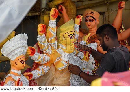 The Potters Of Kolkata Are Preparing Idols Of Goddess Devi Durga And Paint Those For Durga Puja Fest