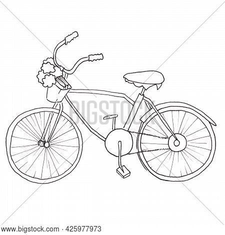 A Bicycle Drawn With A Black Pen With A Basket And Flowers .a Muslim Girl Goes To School In A Pink H