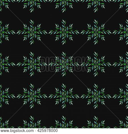 A Branch With Leaves Of Green, Turquoise,blue Color Spring, Summer Plant Is Woven Like A Wreath In A