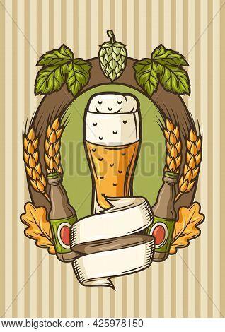 Badge For Beer Festival Or Oktoberfest. Background For Pub Or Bar Menu And Flyers.
