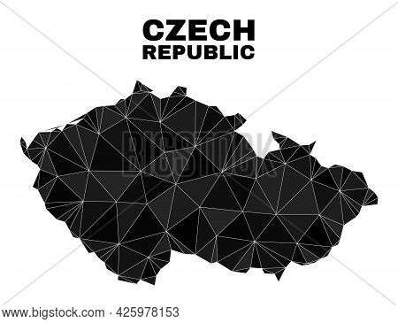 Low-poly Czech Republic Map. Polygonal Czech Republic Map Vector Is Constructed From Scattered Trian
