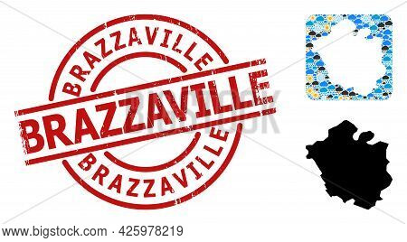 Weather Collage Map Of Chandigarh City, And Scratched Red Round Brazzaville Stamp. Geographic Vector