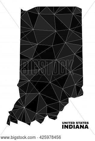 Lowpoly Indiana State Map. Polygonal Indiana State Map Vector Combined Of Chaotic Triangles. Triangu