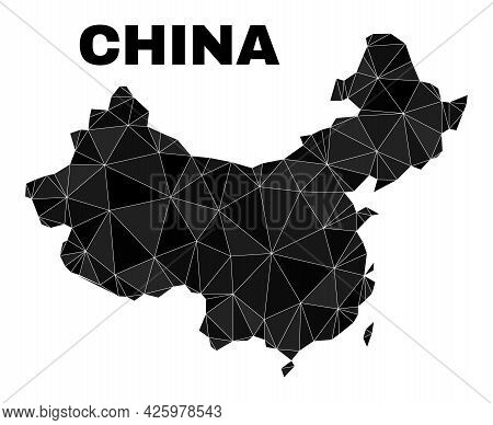 Lowpoly China Map. Polygonal China Map Vector Is Filled Of Scattered Triangles. Triangulated China M