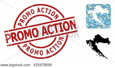Weather Pattern Map Of Croatia, And Scratched Red Round Promo Action Badge. Geographic Vector Collag