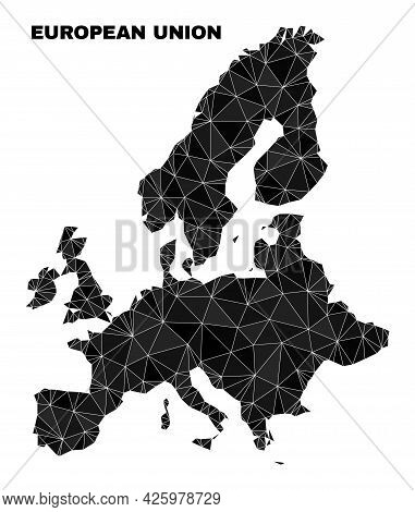 Low-poly European Union Map. Polygonal European Union Map Vector Is Combined Of Random Triangles. Tr