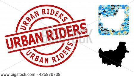 Weather Mosaic Map Of Borneo Island, And Rubber Red Round Urban Riders Stamp Seal. Geographic Vector