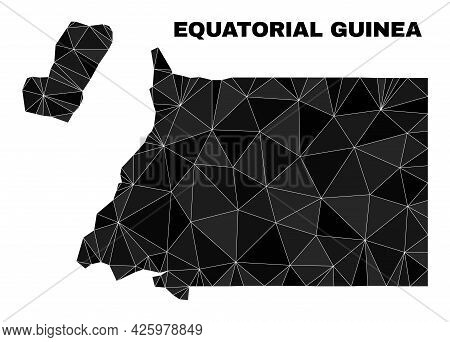Low-poly Equatorial Guinea Map. Polygonal Equatorial Guinea Map Vector Is Constructed From Scattered