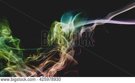 Swirl Of Rainbow Color Smoke Curves