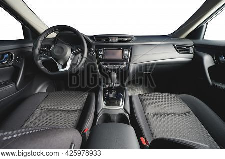 Dashboard Of Modern Car With Big Screen And Gearstick Isolated