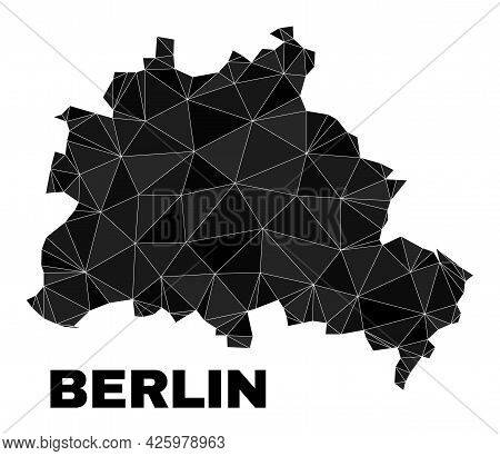 Lowpoly Berlin City Map. Polygonal Berlin City Map Vector Is Filled From Chaotic Triangles. Triangul