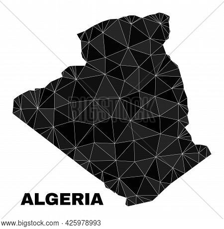 Low-poly Algeria Map. Polygonal Algeria Map Vector Is Designed From Chaotic Triangles. Triangulated