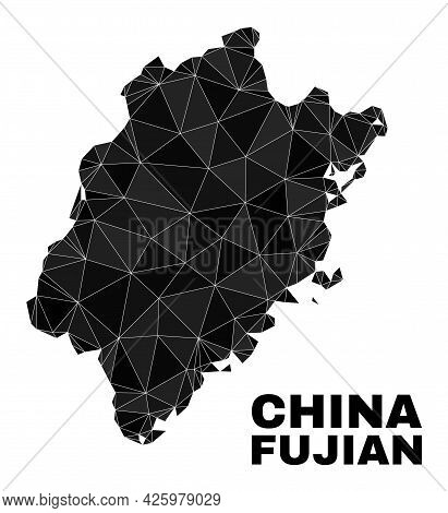 Low-poly Fujian Province Map. Polygonal Fujian Province Map Vector Is Designed With Chaotic Triangle