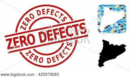 Weather Collage Map Of Catalonia, And Rubber Red Round Zero Defects Badge. Geographic Vector Collage