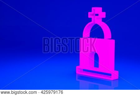 Pink Old Crypt Icon Isolated On Blue Background. Cemetery Symbol. Ossuary Or Crypt For Burial Of Dec