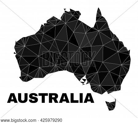 Low-poly Australia Map. Polygonal Australia Map Vector Combined With Scattered Triangles. Triangulat