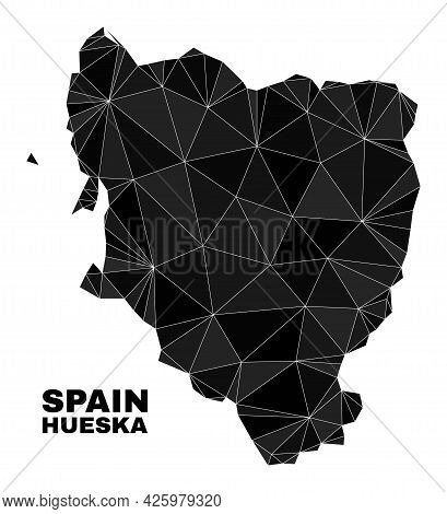 Lowpoly Hueska Province Map. Polygonal Hueska Province Map Vector Designed From Scattered Triangles.