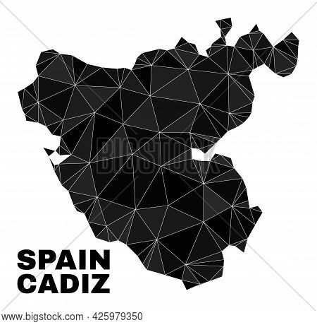 Low-poly Cadiz Province Map. Polygonal Cadiz Province Map Vector Filled With Chaotic Triangles. Tria