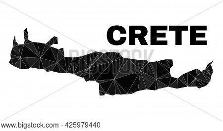 Lowpoly Crete Map. Polygonal Crete Map Vector Designed Of Randomized Triangles. Triangulated Crete M