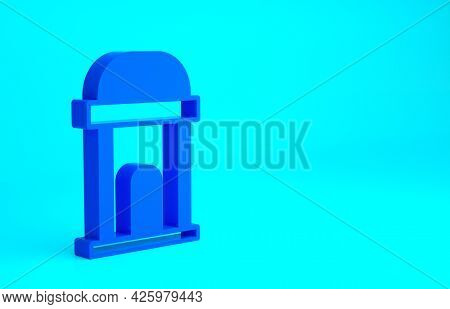 Blue Old Crypt Icon Isolated On Blue Background. Cemetery Symbol. Ossuary Or Crypt For Burial Of Dec