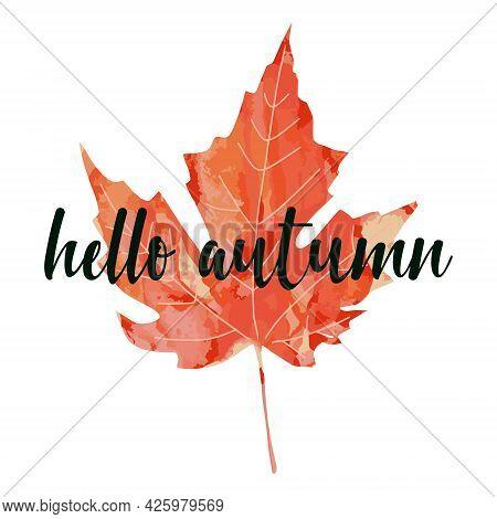 Beautiful Calligraphy Lettering Text - Hello Autumn. Bright Orange Red Watercolor Aquarelle Artistic