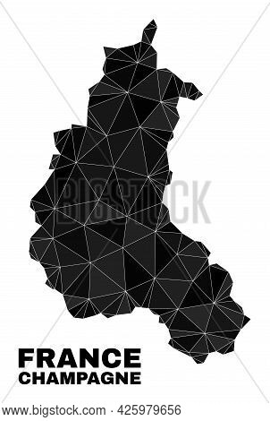 Low-poly Champagne Province Map. Polygonal Champagne Province Map Vector Filled With Randomized Tria