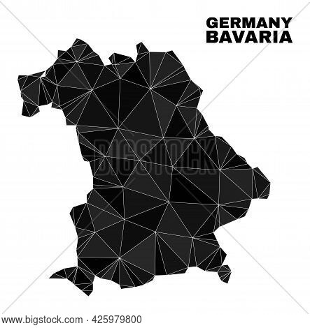 Low-poly Bavaria Land Map. Polygonal Bavaria Land Map Vector Constructed With Randomized Triangles.