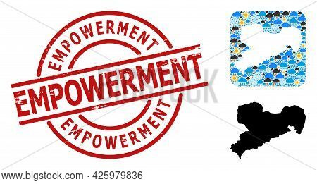 Climate Mosaic Map Of Saxony State, And Scratched Red Round Empowerment Badge. Geographic Vector Mos