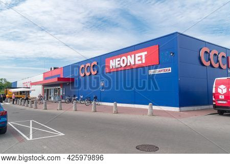 Swiebodzin, Poland - June 1, 2021: Shopping Mall With Tesco, Ccc And Neonet.
