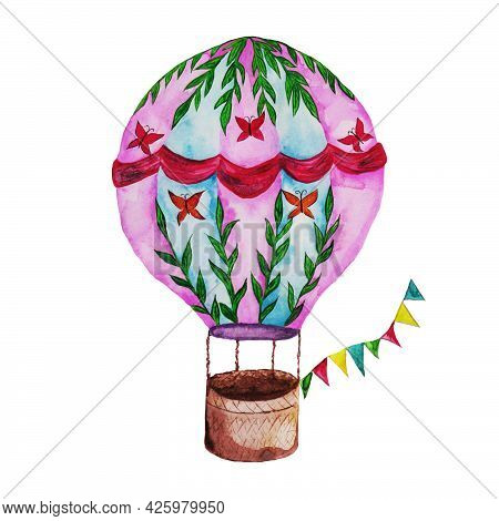 A Pink Balloon With Patterns And Petals With Flags And A Brown Basket Flies In The Sky Among The Clo