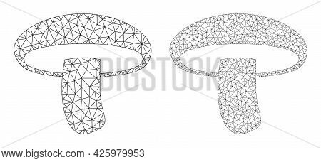 Net Vector Mushroom Icons. Mesh Carcass Mushroom Images In Low Poly Style With Structured Triangles,