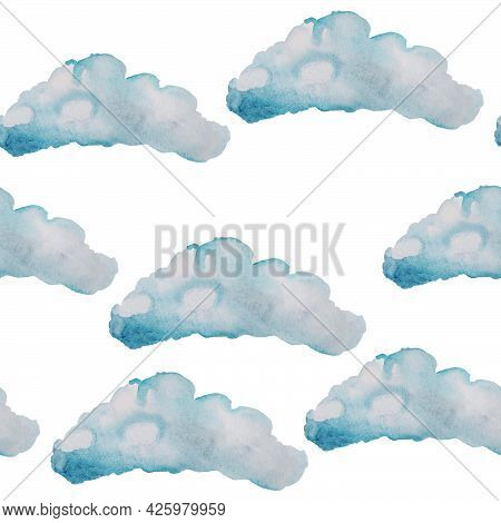 The Clouds Are Airy, Fluffy, Floating In The Sky Like Cotton Candy In Blue Watercolor