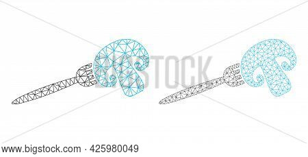 Mesh Vector Champignon Fork Icons. Polygonal Carcass Champignon Fork Images In Lowpoly Style With Co