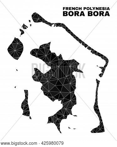 Lowpoly Bora-bora Map. Polygonal Bora-bora Map Vector Is Filled From Random Triangles. Triangulated