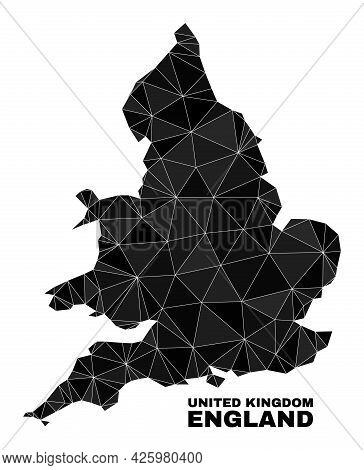 Low-poly England Map. Polygonal England Map Vector Is Combined Of Random Triangles. Triangulated Eng
