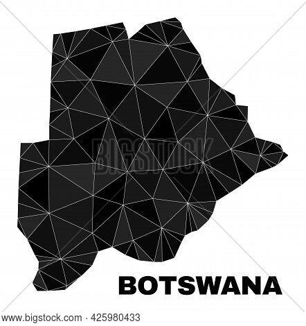 Lowpoly Botswana Map. Polygonal Botswana Map Vector Is Combined Of Randomized Triangles. Triangulate
