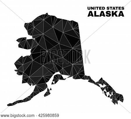 Lowpoly Alaska Map. Polygonal Alaska Map Vector Filled With Randomized Triangles. Triangulated Alask