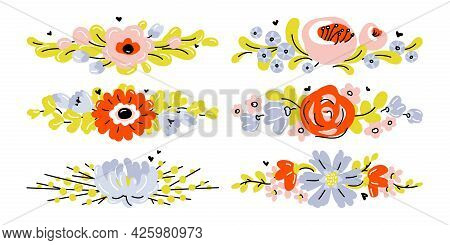 Set Of Cute Hand Drawn Flowers. Modern Collage Of Blossoming Plants For Pre-made Poster Print Or Gre