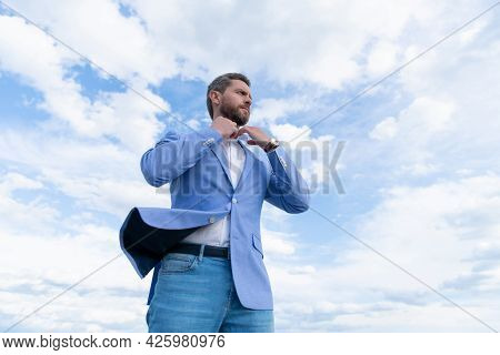 Male Formal Fashion. Professional Unshaven Ceo. Man Bride Groom On Sky Background.
