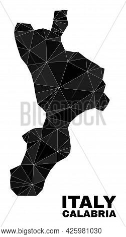 Low-poly Calabria Region Map. Polygonal Calabria Region Map Vector Is Designed Of Chaotic Triangles.
