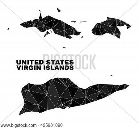 Low-poly American Virgin Islands Map. Polygonal American Virgin Islands Map Vector Is Combined Of Ra