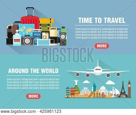 Around The World. Time To Travel Concept Design Flat Banners Set With Plane. Travel Composition With