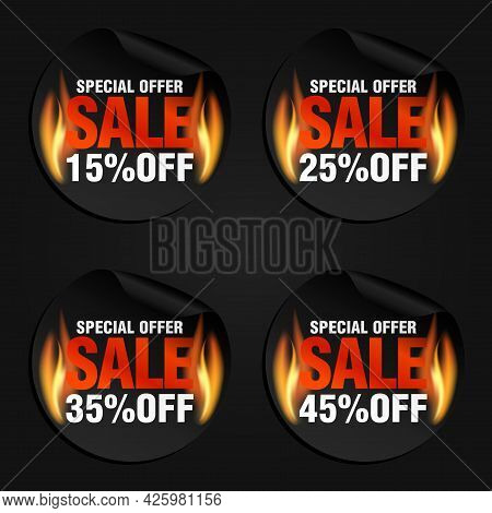 Special Offer, Sale Black Stickers Set With Flame Fire 15%, 25%, 35%, 45% Off. Vector Illustration