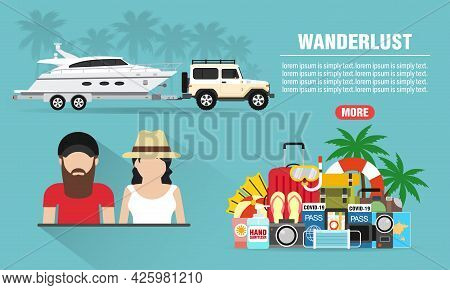 Wanderlust Concept Design Flat Banner Young People With Suv, Boat Trailer. Travel Icon. Safe Journey