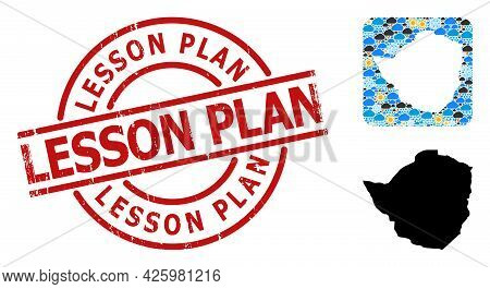 Weather Mosaic Map Of Zimbabwe, And Rubber Red Round Lesson Plan Stamp Seal. Geographic Vector Mosai