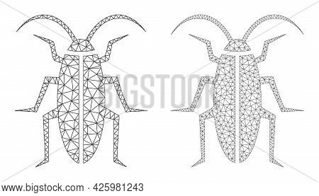 Mesh Vector Cockroach Icons. Mesh Wireframe Cockroach Images In Lowpoly Style With Organized Triangl