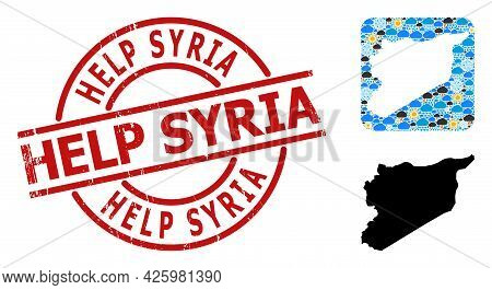 Weather Pattern Map Of Syria, And Scratched Red Round Help Syria Stamp Seal. Geographic Vector Compo